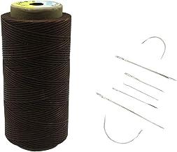 Yulakes 260 meter 1 mm leer gewaxte was draad koord ledergaren naaien handwerk met 7 stuks lederen naainaalden bruin