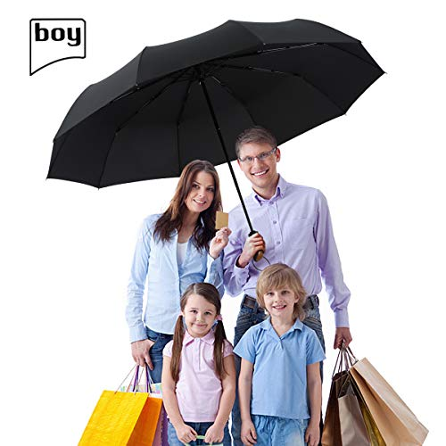 boy TF Golf Umbrella, Extra Large Canopy Windproof Umbrella 10 Reinforced Ribs, Automatic Windproof Vented Fast Drying Windproof Travel Umbrella