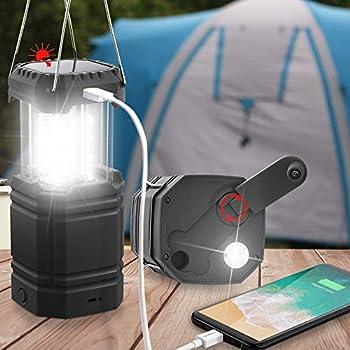 Lanterne de Camping à Manivelle Solaire, Lampe de Poche LED Ultra Lumineuse Portable, 30-35 Heures d'Autonomie, Chargeur USB, Batterie Externe 3000mAh, Lanterne Électronique pour l'Extérieur, Urgence