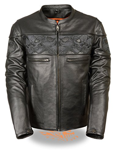 Milwaukee Leather Men's Crossover Stand Up Collar Motorcycle Jacket w/Reflective Skulls w/Two Inside Gun Pockets (X-Large)