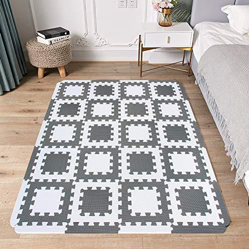MSHEN Tapis Mousse Puzzle Bebe/Tapis de Jeux bébé/Tapis de Chambre/Le Sport Tapis/ Tatami,La Taille 1.8 carré.Blanc -Blanc cassé/AL20S18