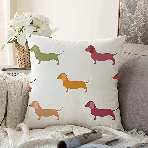 Fundas decorativas para cojines, funda de cojín, diseño de teckel caliente en inglés, lindo perro salchicha para mascotas, adorables perros, animales, razas de animales salvajes, con funda de almohada