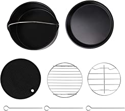 Goolsky 5Pcs/Set Air Fryer Kitchen Accessories Cake Barrel Pan Rack Mat Kit Metal Pizza