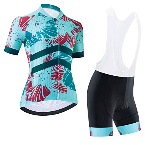 WPW Ladies Cycling Jersey, Breathable Short Sleeve Bike Team Racing Top + Bib Shorts Set for Cyclist (Color : B, Size : Large)