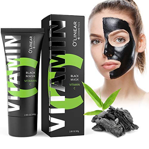 Black Charcoal Mask - Face Peel Off Mask with Organic Bamboo and Vitamin C - Deep Cleansing Pore Blackhead Removal and Purifying Black Mask for Men and Women