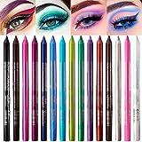PARAMISS 15 colores de lápiz de ojos, lápiz de ojos de neón, kit de delineador de ojos de color, delineador de ojos para mujeres, set de maquillaje de ojos profesional