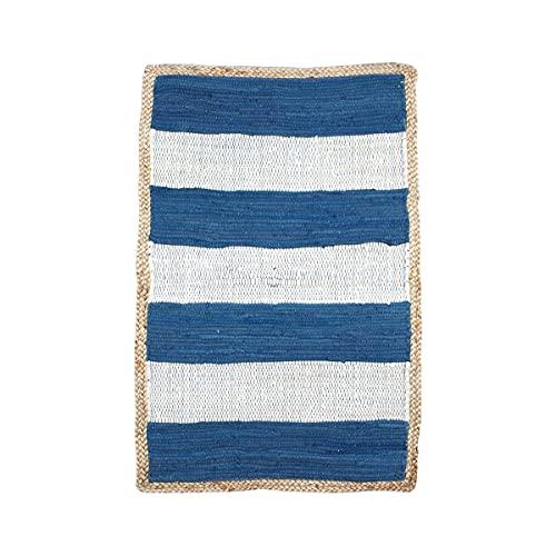 Alfombra Decorativa Rectangular de Yute y Algodón Rayas Azules y Balncas. Decoración del Hogar. Regalos Originales. Dormitorios y Salón. Textil. 90 x 60 x 0,50 cm