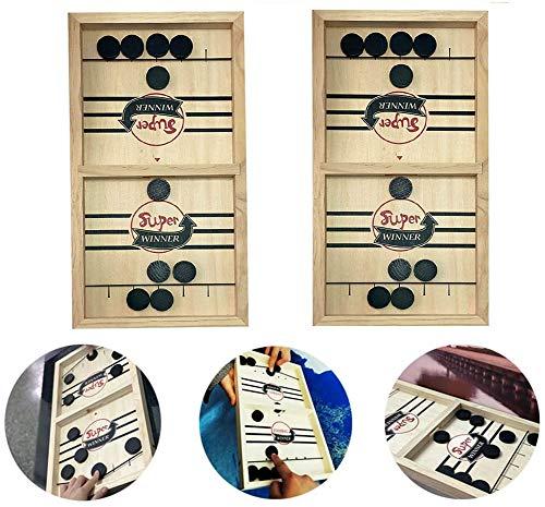 LYPXX Schnelles Sling Puck Brettspiel, Paced Sling Puck Winner Board, Indoor Family Interaktives Spiel, Mini Wooden Tabletop Sling Puck Spiel, Fun Toys für Kinder (2 Sätze)