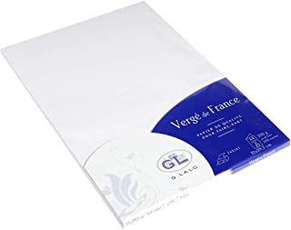 Lalo 43300L - Un paquet de 25 cartes pliées 21x29,7 cm 210g, Vergé de France, Blanc