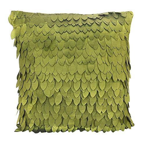 Troflink - 1 x Funda de Almohada de satén con Estampado de Hojas para sofá Cojín/Almohada de Cama 43 x 43 cm - Verde Oliva Buen Regalo