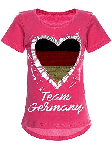 BEZLIT Deutschland Mädchen Wende-Pailletten WM 2018 Fan Fussball T Shirt 22512 Pink Größe 164