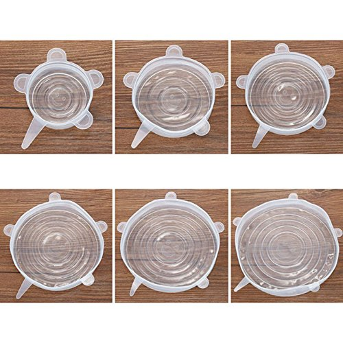 SODIAL 6 x Couvertures de stockage de silicone, 6-Pack de differentes tailles de Couvercles extensibles de silicone pour le bol, la boite, le bocal et ainsi de suite