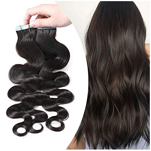 20 Pcs Extension Bande Adhesive Cheveux Naturel Ondulé - Tape in Remy Human Hair Extensions - 50CM - #1B BRUN/NOIR Naturel Ondulé