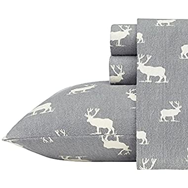 Eddie Bauer 216294 Elk Grove Flannel Sheet Set, Twin, Gray