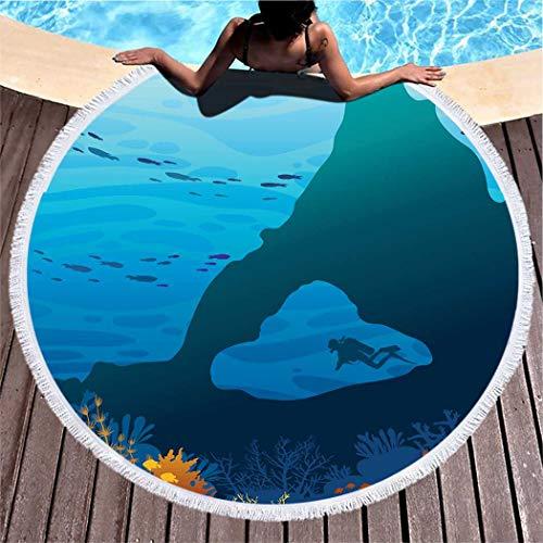 Kuidf Coral Round Beach Towel Blanket, Silhouette Scuba Diver Underwater Cave Beautiful Microfiber Beach Towel, Lightweight Picnic Carpet Towel for Kids Women Men, 59 Inches