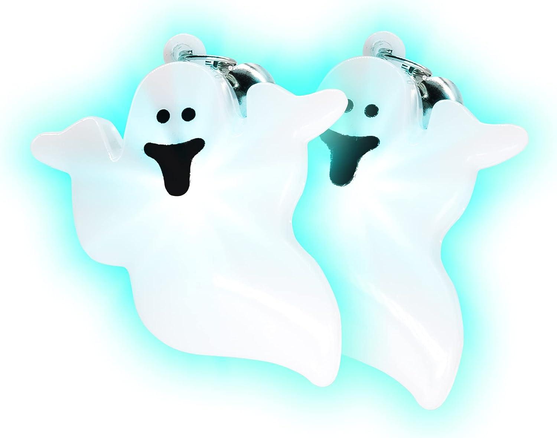 Light Up Jumbo Halloween Spooky White Ghost Clip On Earrings - 1 Pair