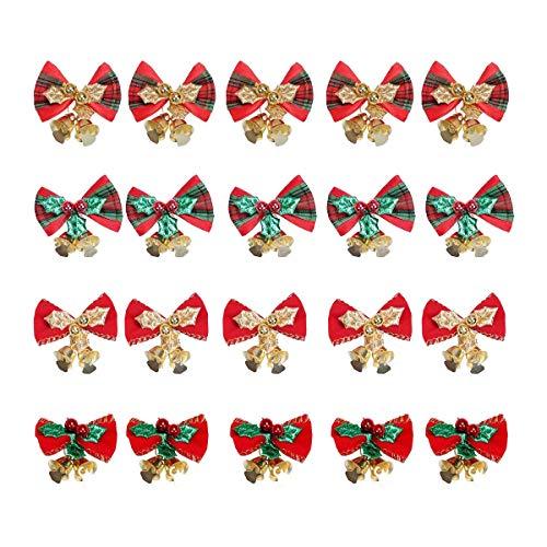 Fransande 20 lazos para árbol de Navidad con campanas de hierro para decoración de árbol de Navidad