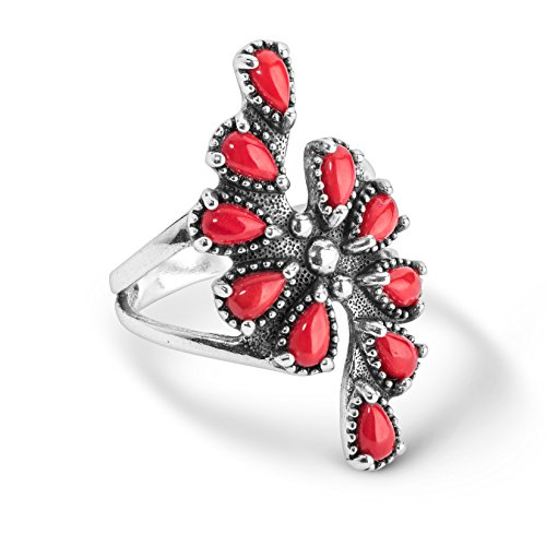 American West Sterling Silver Red Coral Gemstone Cluster Ring Size 7