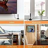 Mástil de Antena-Antena TV Interior/Exterior de Alta Ganancia de 30 dB para Receptor USB TDT/DTMB, ATSC,DVB-T, DMB-T, portátil con Base magnética Estable y Fuerte Capacidad de recepción