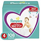 Diapers Size 4, 108 Count - Pampers Cruisers 360° Fit Disposable Baby Diapers, Enormous Pack