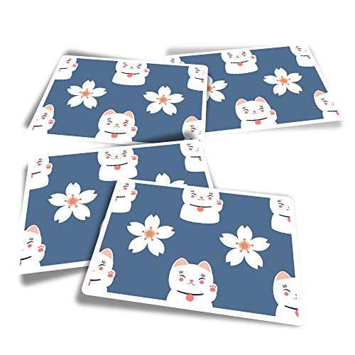Vinyl Rectangle Stickers (Set of 4) - Cute Lucky Cat & Flower Chinese China Fun Decals for Laptops,Tablets,Luggage,Scrap Booking,Fridges #8729