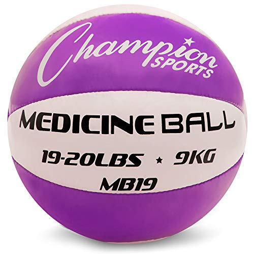 Champion Sports MB19 Exercise Medicine Balls, 19-20 lbs, Leather with No-Slip Grip for Weight Training, Stability, Plyometrics & Cross Training