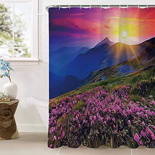 Duschvorhang, magischer Feen-Horizont mit Blumen auf dem Tal & Berg, geheimnisvolle Foto-Deko, wasserdicht, schimmelresistent, Polyestergewebe, Badezimmer-Sets mit 12 Haken (100prozent Polyester), mehrf