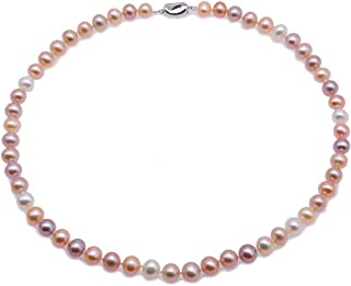 JYX Pearl AA+ Quality 7-8mm Near Round Natural Pink and Lavender Freshwater Pearl Necklace 18