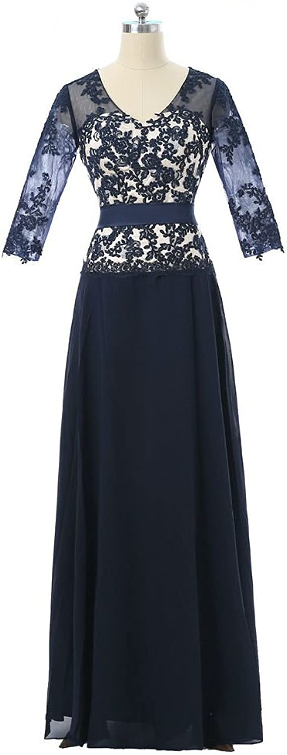 QY Bride Woman's V Neck Mother of The Bride Dress Applique with Sleeve