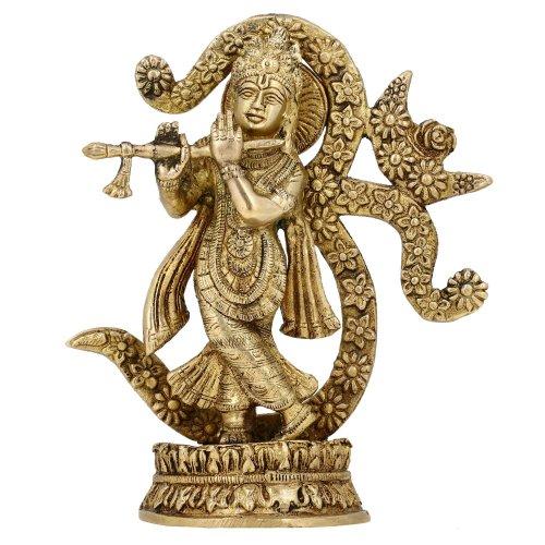Shalinindia Idol de Krishna OM Símbolo en hinduismo, Oro, tamaño 8 x 5,5 x 2 Pulgadas