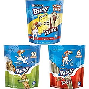 Purina Busy With Beggin' Made in USA Facilities Small Breed Rawhide Free Dog Treats, Twist'd Mini – 12 ct. Pouch