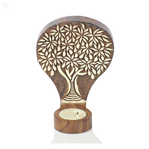 hashcart Árbol de la vida de madera grabado cuadro cum pared portavelas, color para regalo/decoración del hogar