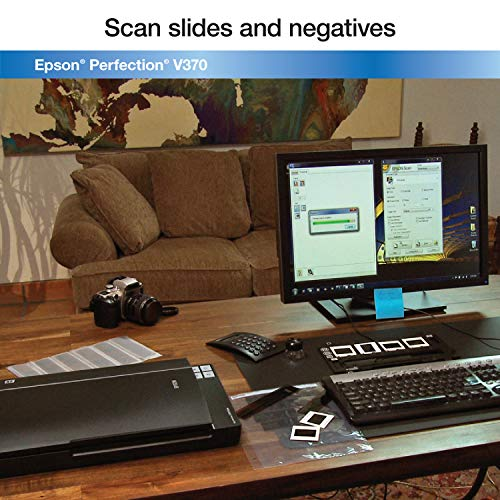 Epson B11B207221 Perfection V370 Color Photo, Image, Film, Negative & Document Scanner with scan-to-cloud & 4800 x 9600 dpi