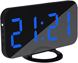MagiDeal LED Digital Alarm Clock with Dual USB Charging Port for Cellphone Charger Snooze Besides Table Alarm Clock - Blue, as described