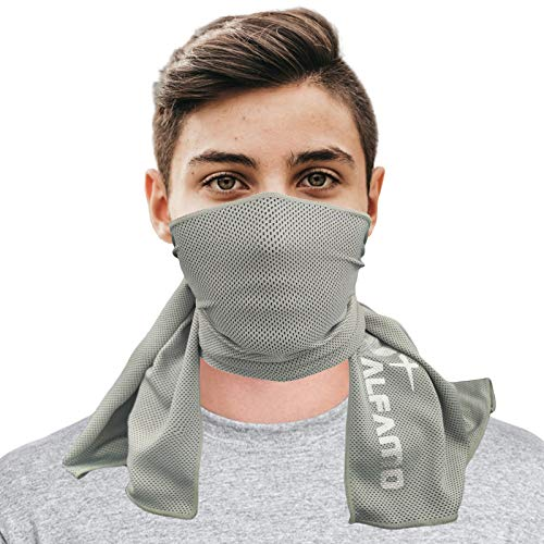 Cooling Towel (Gray, L) Long As Scarf Cooling Headband Bandana Soft Breathable Yoga Towel, Stay Cool for Running Biking Hiking Golf & All Other Sports, Waterproof Bag Packaging with Carabiner