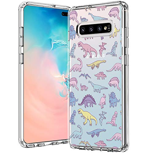 BICOL Galaxy S10 Plus Case, Dinosaurs Pattern Clear Design for Girls Women Transparent Plastic Hard Back Cover with Soft TPU Bumper Protective Phone Case for Samsung Galaxy S10 Plus