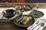 Gibson Elite Kyoto Geschirr-Set, rund, reaktive Glasur, Doppelschüssel, Steingut, Service für 4 (16-teilig), Blaugrün - 6