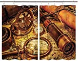 BOKEKANG Cortinas para Ventana de Cocina,Telescopio de brújula con Lupa y Reloj de Bolsillo en un Mapa Antiguo náutico,Cortina Corta para Cocina Decoración de Ganchos para Baño,Pack 2,140x100cm