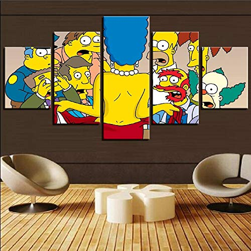 Wall Art Pictures Poster 5 Pieces Simpsons Anime Characters Canvas Painting Decoration Home/Living Room/Bedroom HD Prints Posters-12x16/24/32inch,Withframe