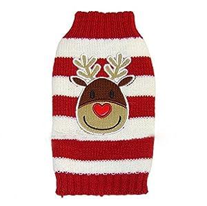 Leisial™ Fournitures de Noël Vêtements pour Animaux Tricots pour Chiots Pull de Noël Renne Puppy Clothes pour Déguisement pour Animaux