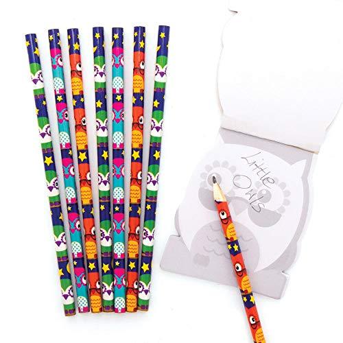 Baker Ross AX597 Kleine Eulen Bleistifte Set für Kinder - 12 Stück, Kreative Künstler- und Bastelbedarf zum Basteln und Dekorieren in der Herbstzeit
