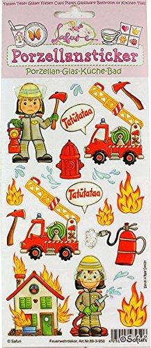Porzellansticker Feuerwehr, Safuri, für alle glatten Flächen, Glas, Küche, Bad