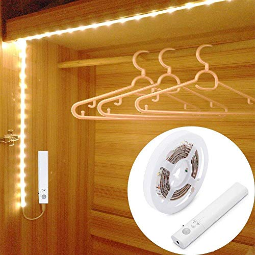 LUXJET 1.5M Motion Sensor Rope Light LED Strip for Cabinet Wardrobe Cupboard Kitchen,Stairs(4 AAA Battery Powered,Not Included)