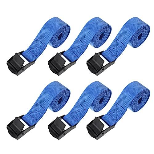 Angoily 6Pcs Leggero Cinghie Bagagli Tie Giù Cinghie Regolabili Valigia Cintura Cargo Cinghie Utile di Fissaggio Cinghie Elastiche di Imballaggio Cinghie Borsa Da Viaggio Accessori Blu
