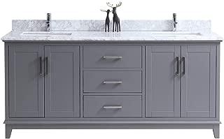 Traditional Freestanding Gray Double Bathroom Vanity | His and Her Sink Vanity Set | Italian Carrara Marble Countertop | 72 Inch