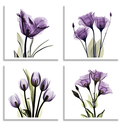 HLJ ART 4 Panel Elegant Tulip Purple Flower Canvas Print Wall Art Painting For Living Room Decor And Modern Home Decorations Photo Prints 12x12inch (Purple S)