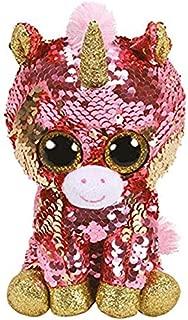 MANGMOC Ty Beanie Boos Plush Animal Doll Sequin Soft Stuffed Cat Owl Fox Rabbit Unicorn Flamingo Sheep Dragon Dog Toys 6