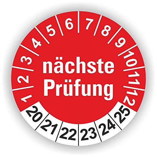 5-1.000 Stück Prüfplaketten Prüfetiketten Wartungsetiketten nächste Prüfung Ø 30mm (Rot 60 Stück)
