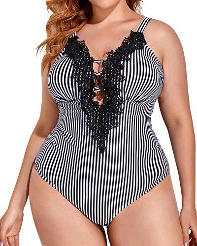 Daci Women Lace Plus Size One Piece Swimsuits V Neck Vintage Tummy Control Slimming Bathing Suit Striped 18 Plus