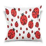 Funda de almohada decorativa cuadrada con diseño de mariquita roja de dibujos animados para sofá cama, funda de almohada de doble cara, 45,7 x 45,7 cm